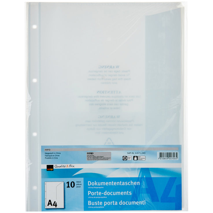 Mappen - Qualité & Prix A4 Document Sleeves Pack of 10