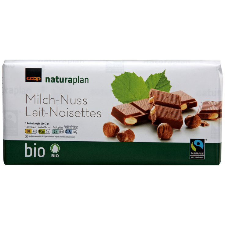 Milk with Nuts - Naturaplan Organic Milk Chocolate Bar with Hazelnuts