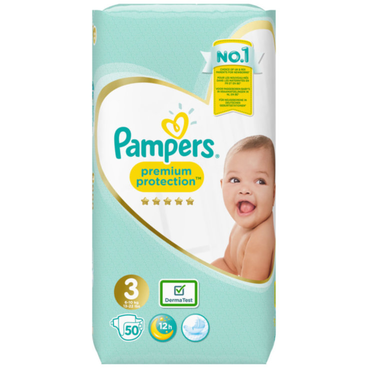 2 - 9 kg - Pampers Premium Protection 3 Midi Diapers 6-10kg 50 Pieces