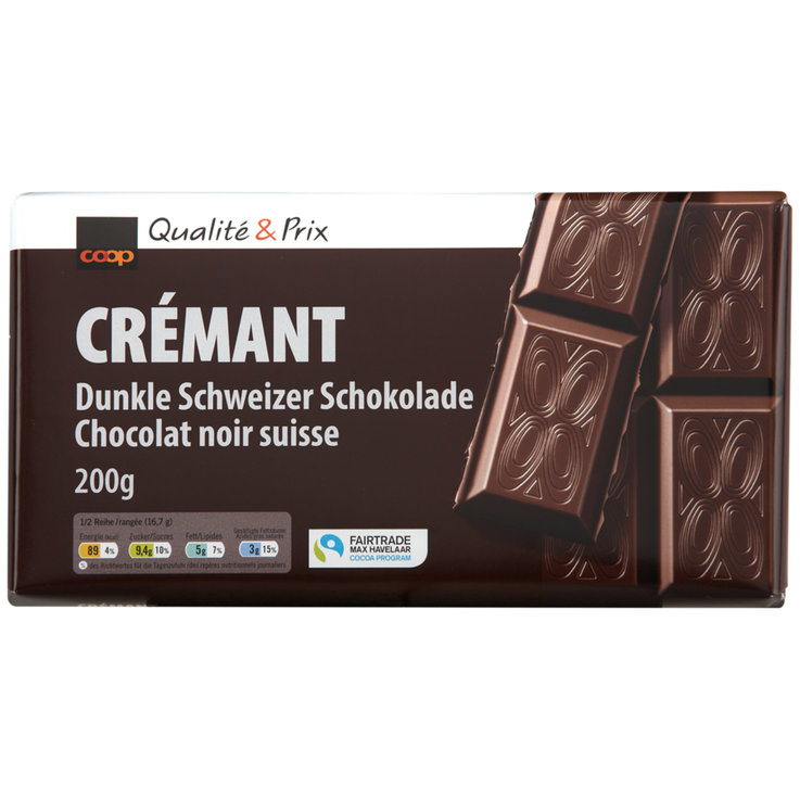 Dark - Fairtrade Crémant Dark Chocolate Bar
