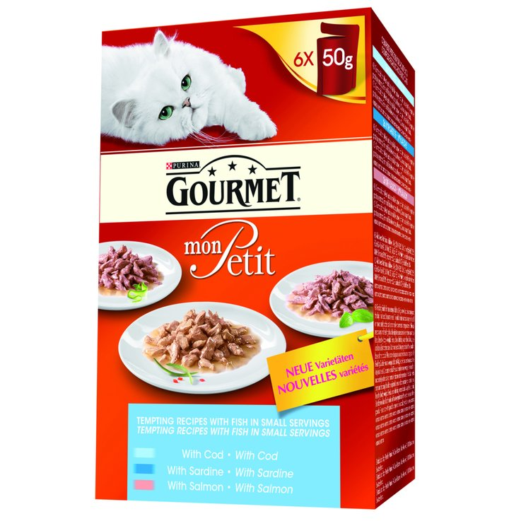 Wet Food - Gourmet Mon Petit Fish Flavoured Cat Food in Sauce 6x50g