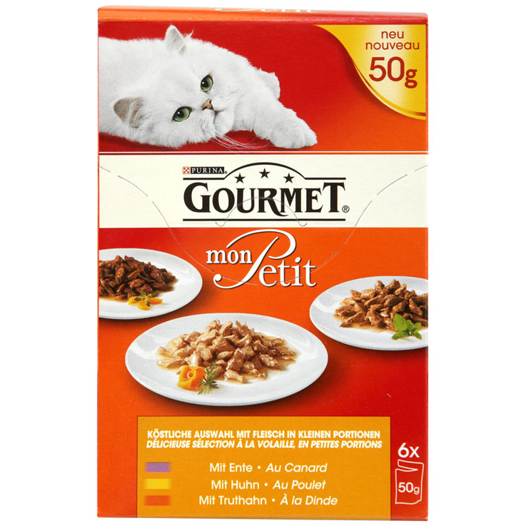 Wet Food - Gourmet Mon Petit Poultry Flavoured Cat Food in Sauce 6x50g