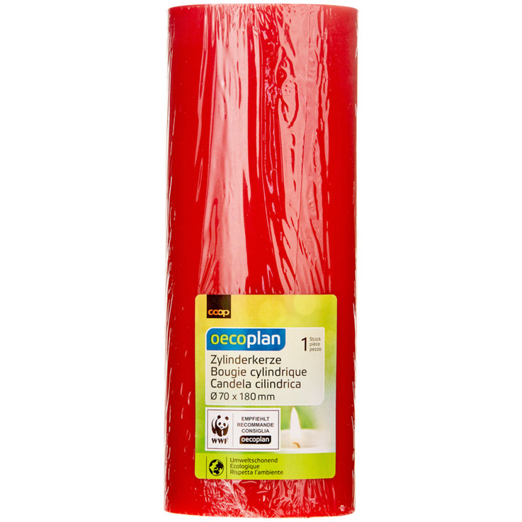 Chandelles de table - Oecoplan Bougie cylindrique rouge 70x180mm