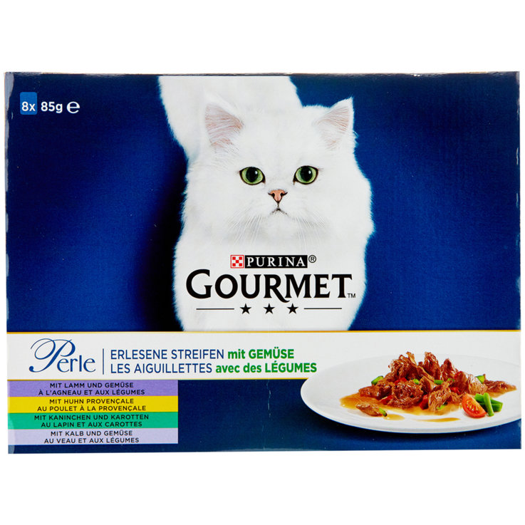 Wet Food - Gourmet Perle Assorted Meat Flavoured Cat Food in Sauce 8x85g