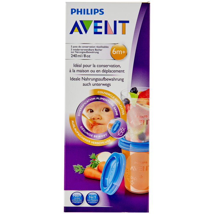Baby Bottles & Accessories - Avent Milk Storage Containers 5x240ml