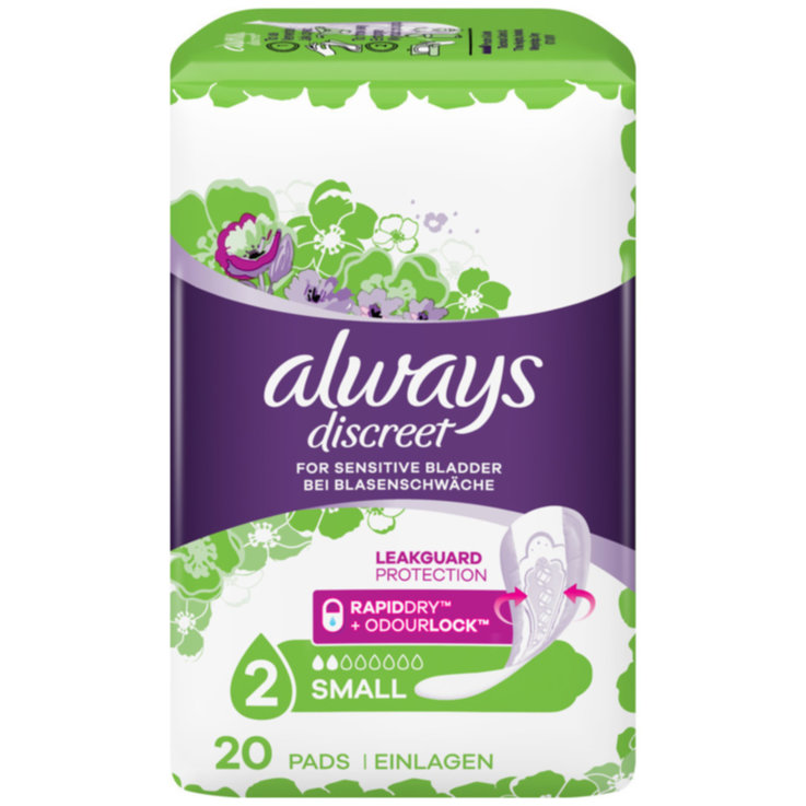 Panty Liners - Always Discreet Small Sanitary Napkins 20 Pieces