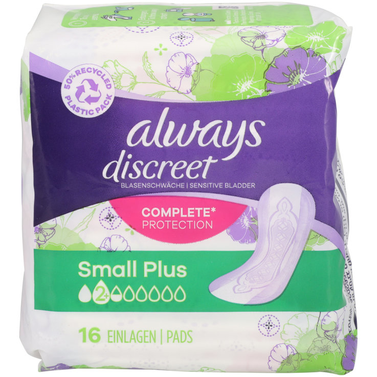 Panty Liners - Always Discreet Small+ Incontinence Pads 16 Pieces