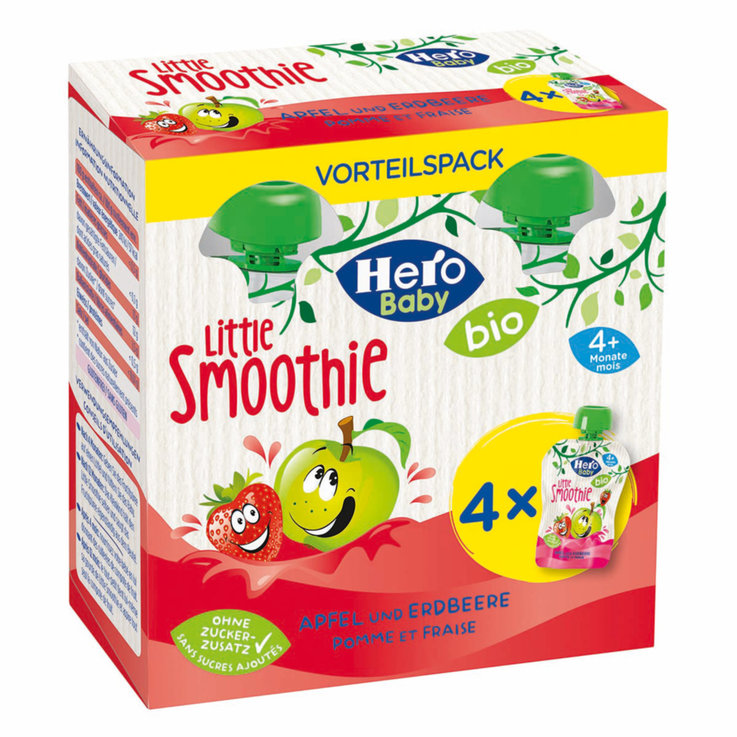 Smoothies - Hero Baby Organic Apple Strawberry Smoothie Pouches 4 Months+ 4x90g