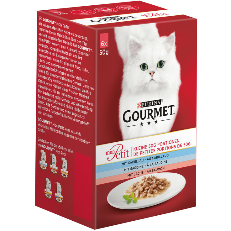 Wet Food - Gourmet Mon Petit Assorted Fish Cat Food in Sauce 6x50g