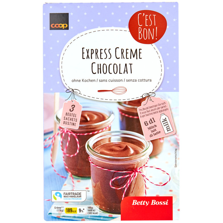 Dessert Fertigmischungen - Betty Bossi Fairtrade Expresse Creme Pulver Chocolat 3x100g