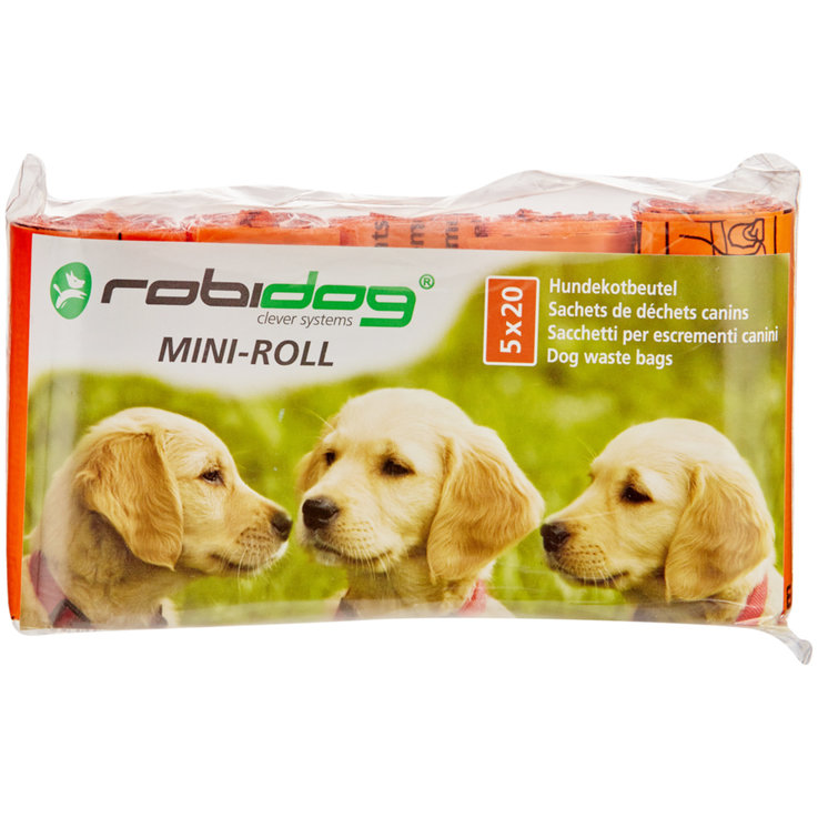 Hygiene and Care - robidog MINI-ROLL 5 x 20 Dog Waste Bags Orange