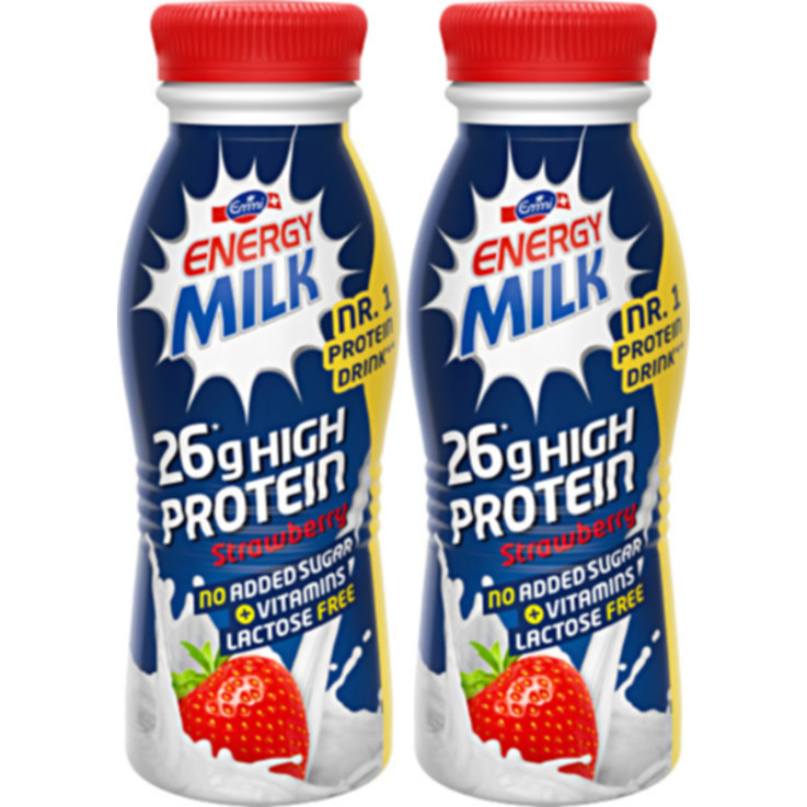 Milkshakes & Lassi - Emmi Strawberry High Protein Energy Milk Drink 2x  330ml