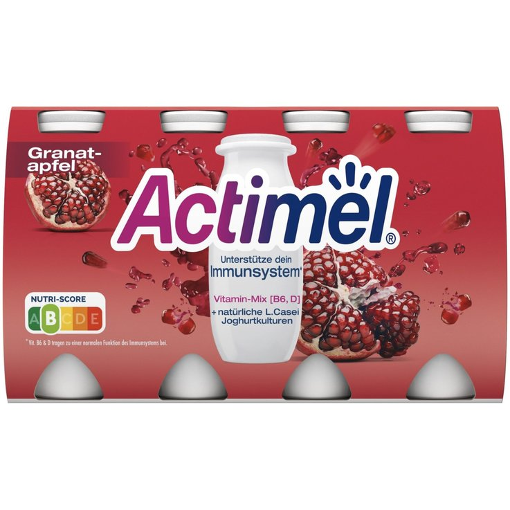 Probiotic Drinks - Danone Actimel Pomegranate Probiotic Yogurt Drinks 8x100g