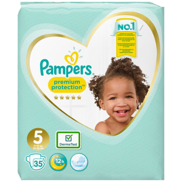 11 - 27 kg - Pampers Premium Protection 5 Junior Diapers 11-16kg 35 Pieces