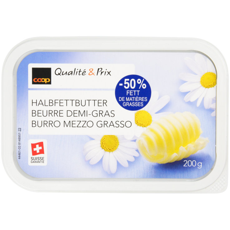 Unsalted Butter - Half-Fat Butter 50% Less Fat