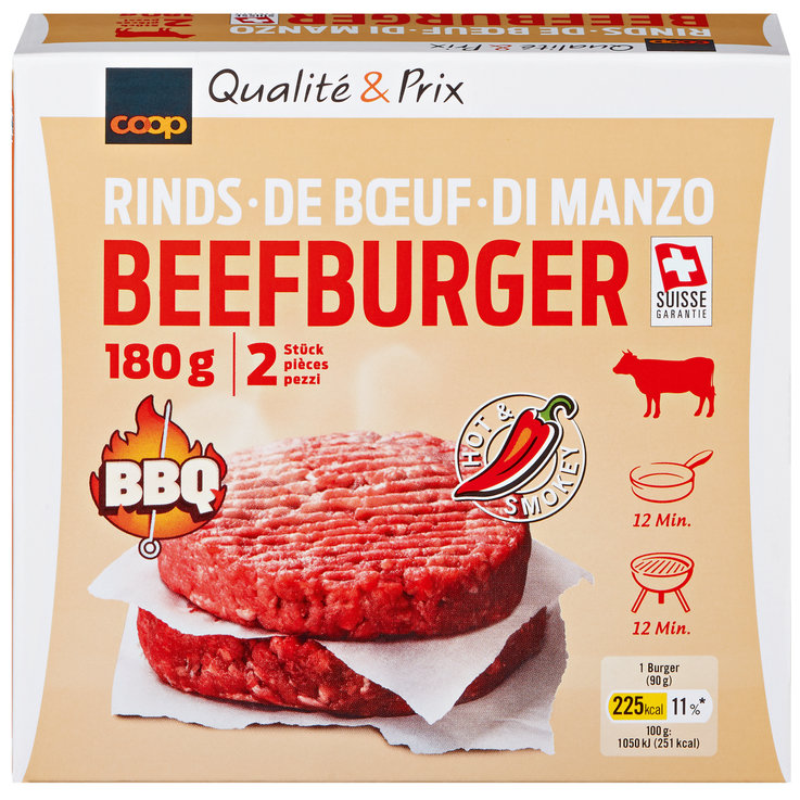 Meat Products - Beef Burger Hot&Smokey 2x90g