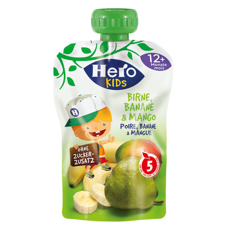 Smoothie - Smoothie Poire, Banane et Mangue (pera, banana e mango) Hero Kids, 12+ mesi