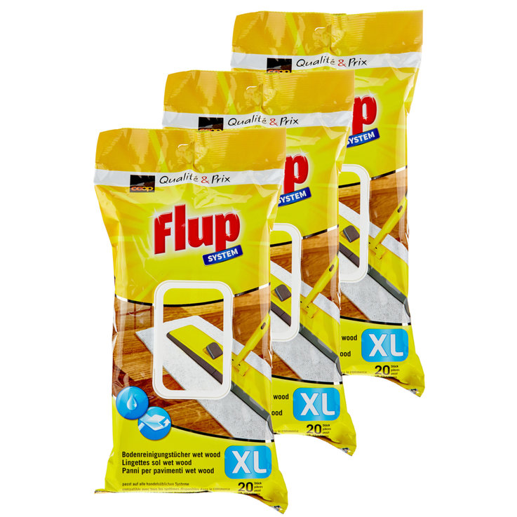 All-Purpose & Floor Cleaners - Flup XL Wet Wood Floor Wipes Pack of 20 3x  20PCE
