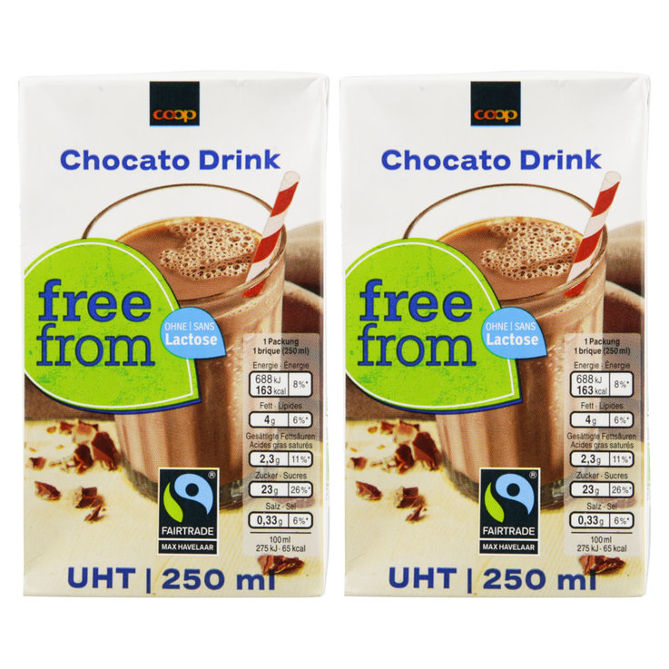 Chocolate Milk Drinks - Free From Fairtrade UHT Lactose Free Chocato Drink 4x  250ml