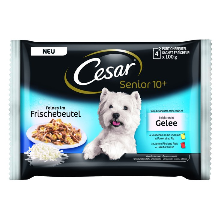 Wet Food - Cesar Chicken & Beef Flavoured Senior Dog Food 10 Years+ 4x100g