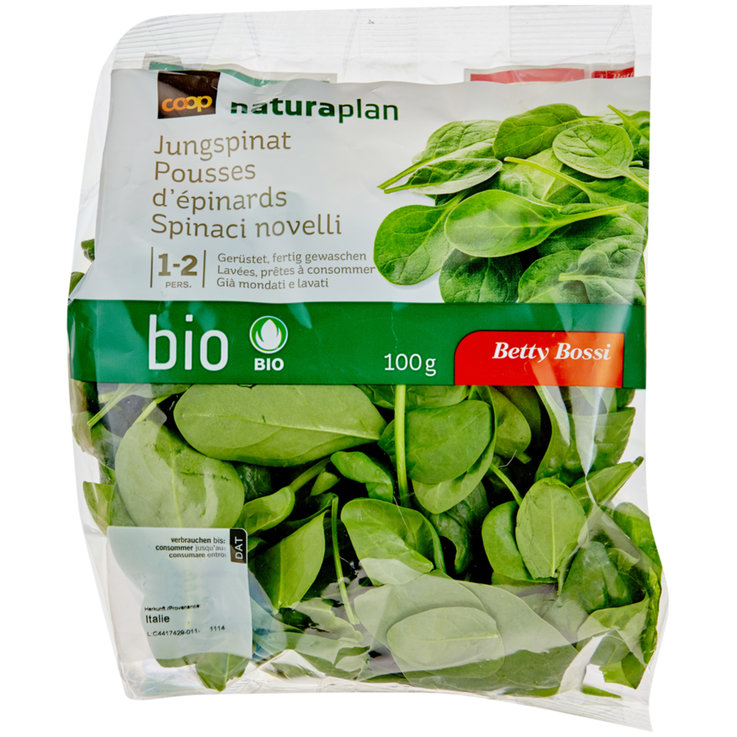 Pre-Packaged Fresh Salads - Naturaplan Organic Betty Bossi Young Spinach
