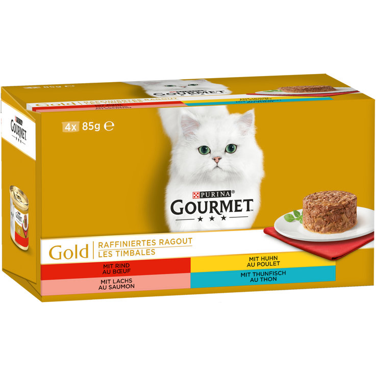 Wet Food - Gourmet Gold Assorted Meat & Fish Ragout Cat Food 4x85g