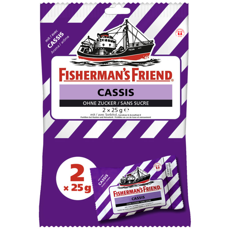 Herbal & Cough Sweets - Fisherman's Friend Sugarfree Cassis Throat Lozenges 2x25g