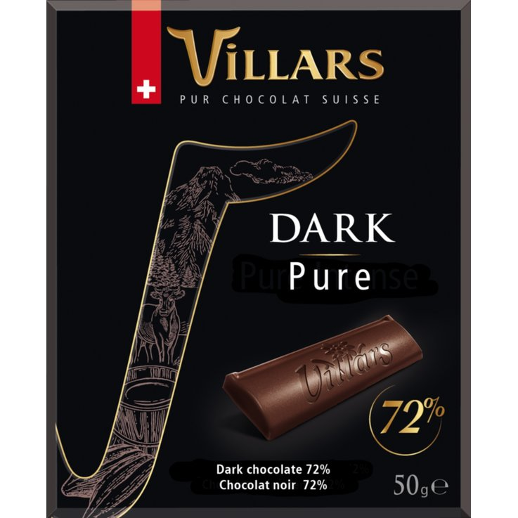 Dark - Villars 72% Pur Dark Chocolate Bar