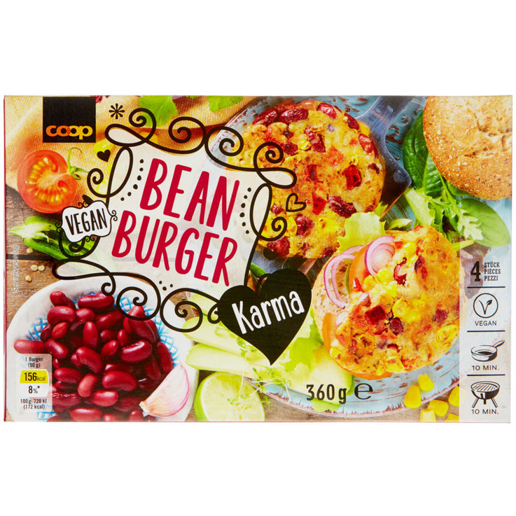 More Frozen Meals - Karma Frozen Bean Burgers