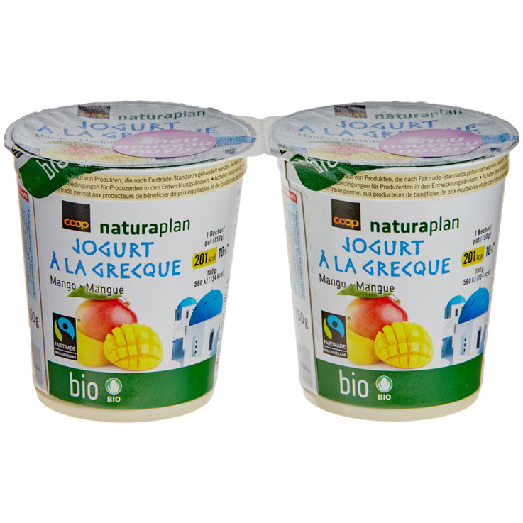 Fruits exotiques & Agrumes - Naturaplan Bio Fairtrade Yogourts à la grecque mangue 2x150g