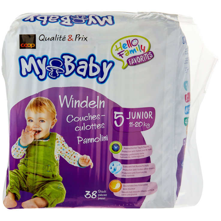 11 - 27 kg - My Baby Diapers Junior size 5, 11-20kg, 38 pieces