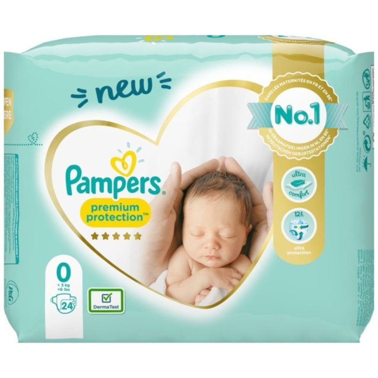 2 - 9 kg - Pampers Couches Premium Protection Micro taille 0, 1,5-2,5kg, 24 pièces