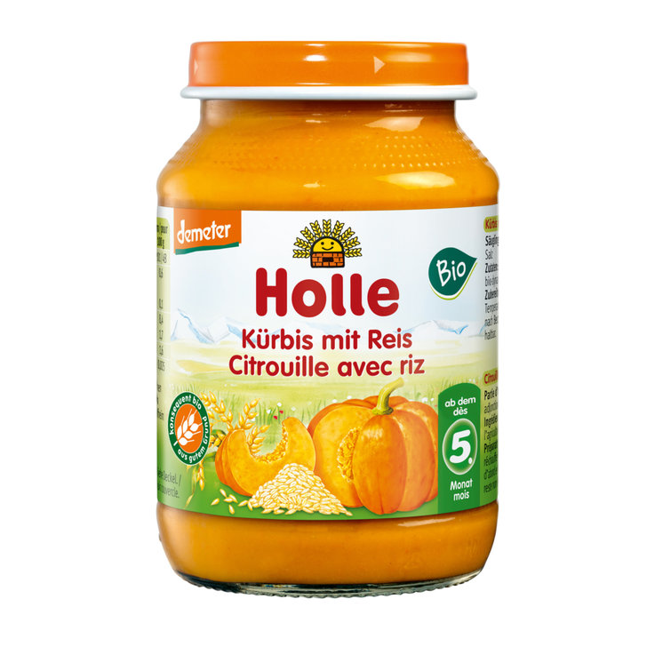 Vegetable Baby Food - Holle Organic Squash Rice Puree 4 Months+