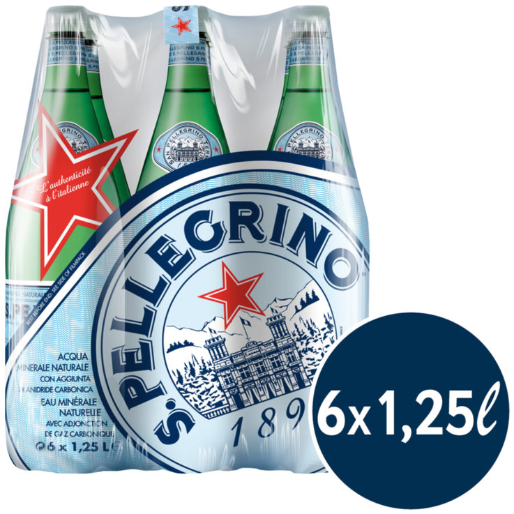 Multipacks more than 1 Liter - San Pellegrino Carbonated Mineral Water 6x1.25l