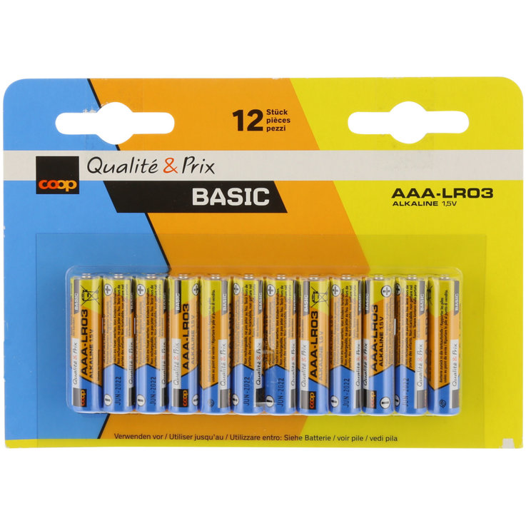 AAA - BASIC LR03/AAA Alkaline Batteries 12 Pieces