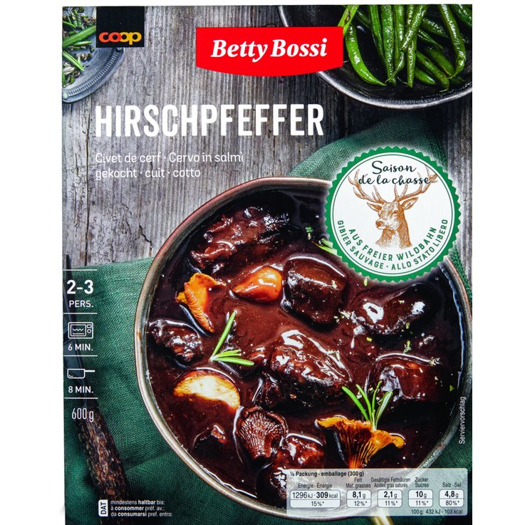 More Fresh Ready-Made Meals - Betty Bossi Cooked Deer Stew