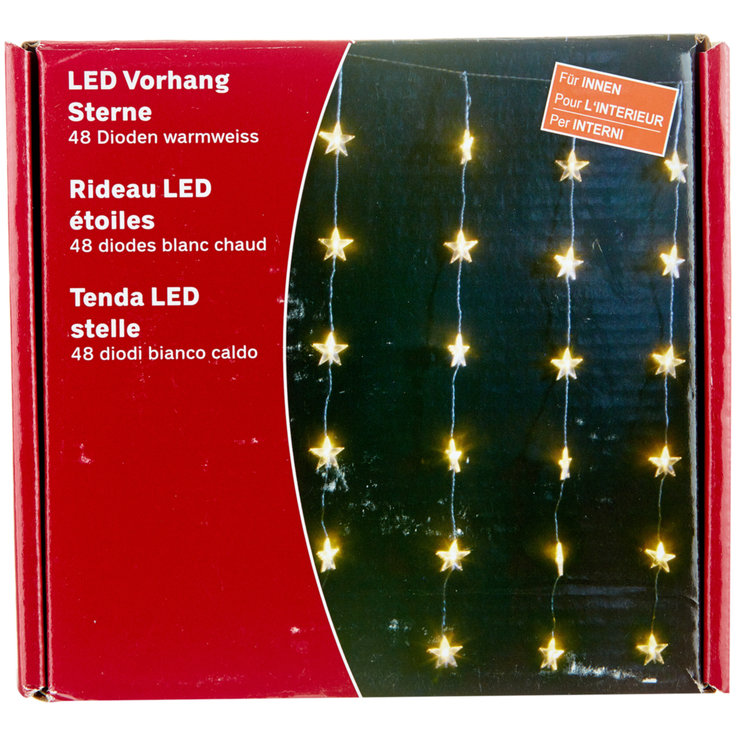 Party Decorations - LED Warm White Star Curtain Lights indoor 48 Pieces