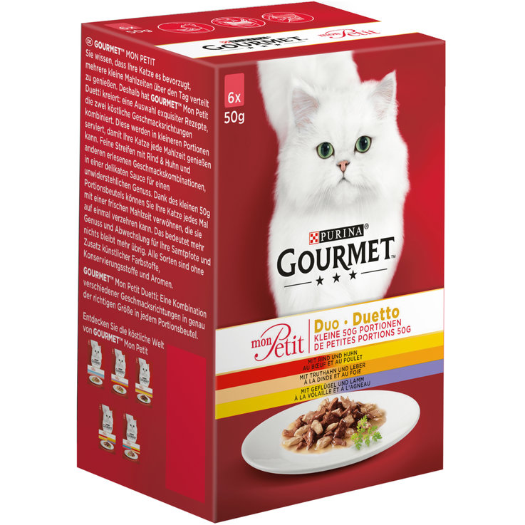 Wet Food - Gourmet Mon Petit Beef & Chicken Cat Food 6x50g