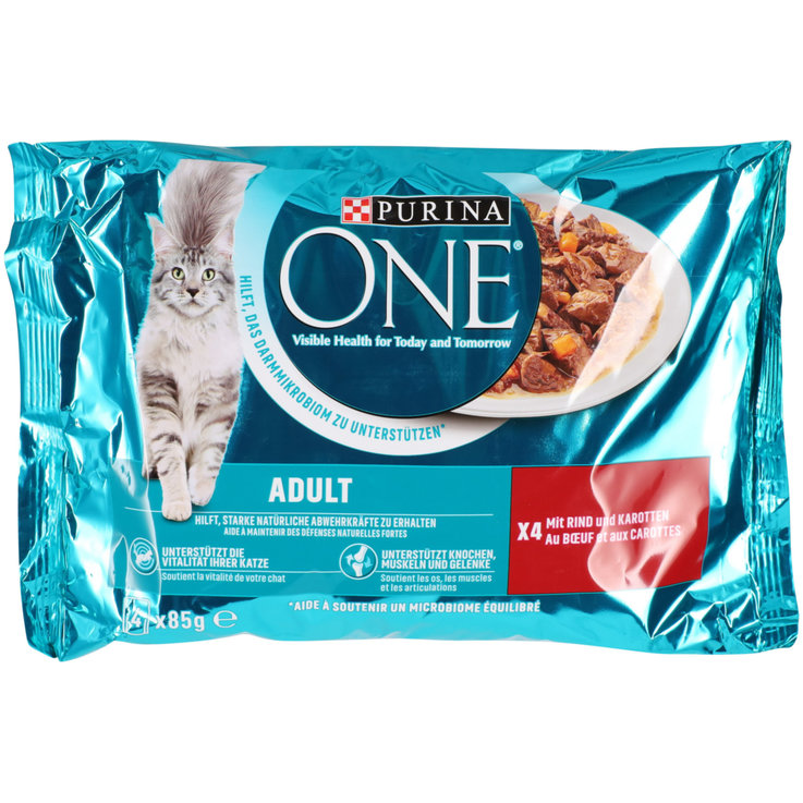 Wet Food - One Beef Flavoured Adult Cat Food in Sauce 4x85g
