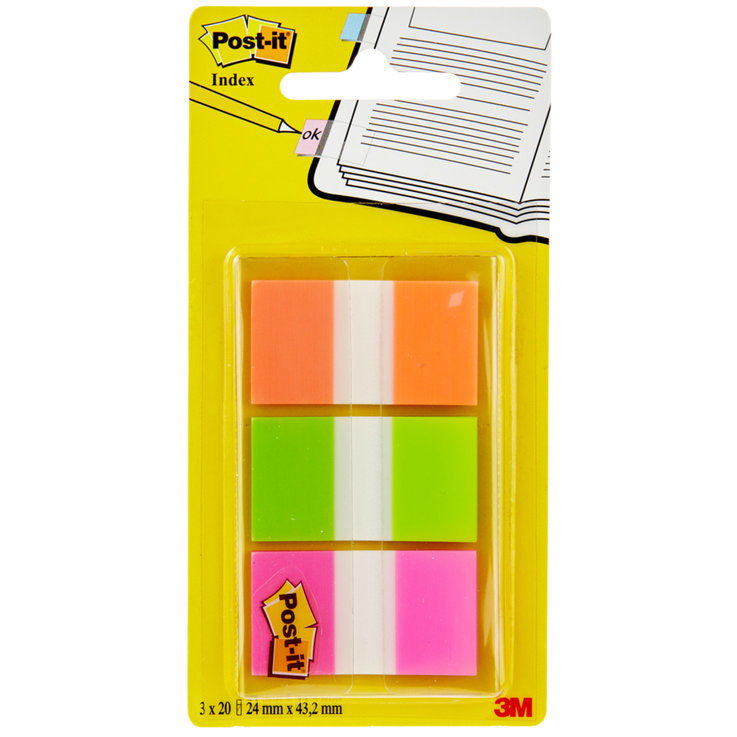 Sticky notes - Post-it Index Orange Green Pink Markers 3 Pieces