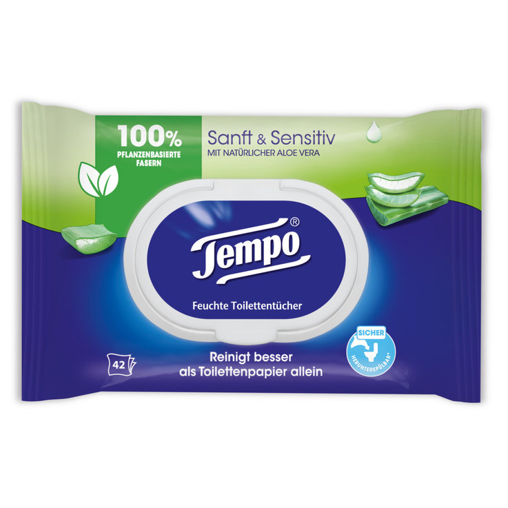 Salviette umidificate - Carta igienica umidificata Aloe sanft & sensitiv (morbida e sensitive) Tempo, 42 pezzi