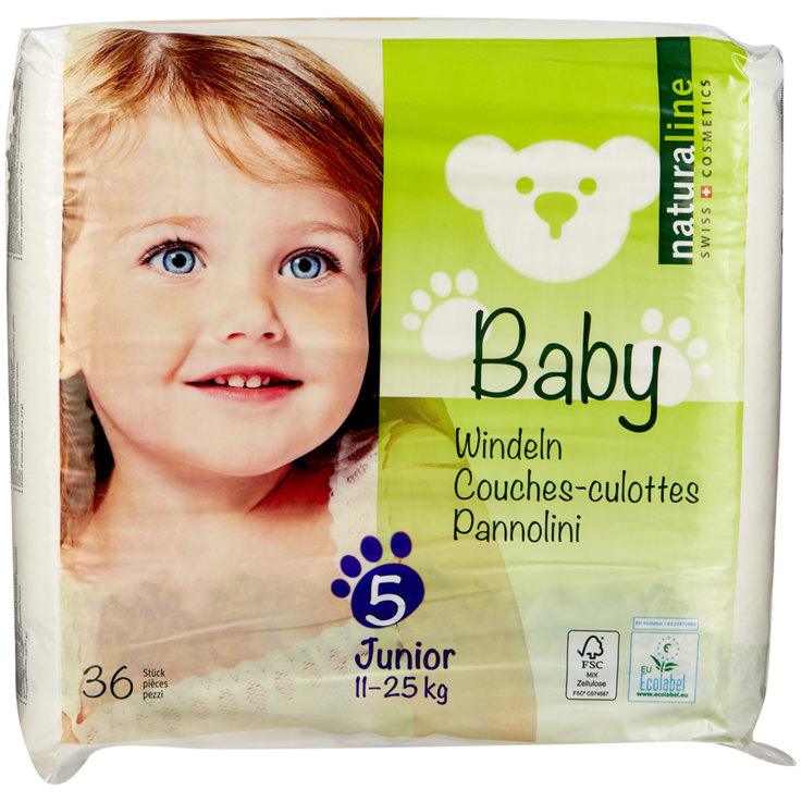 11 - 27 kg - Naturaline Baby Junior nappies, size 5, 11-25 kg, 36 nappies