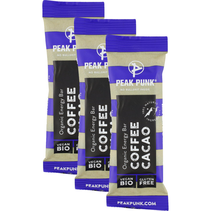 Bars with Chocolate - PEAK PUNK Bio Bar Cacao, Coffee 3x  38g