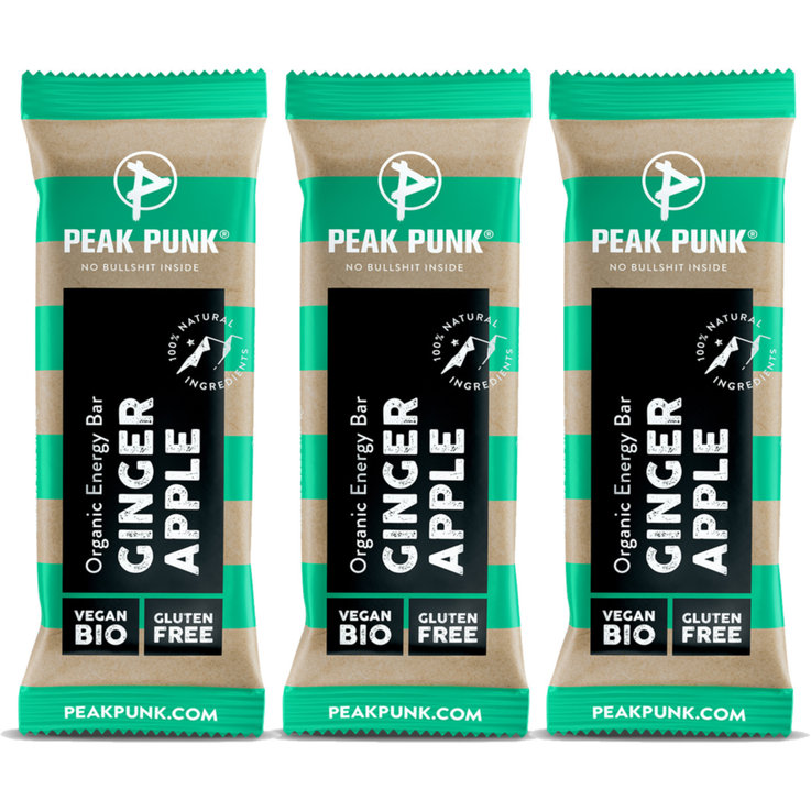 Bars without Chocolate - PEAK PUNK® Bio Energy Bar - Ginger & Apple 3x  38g