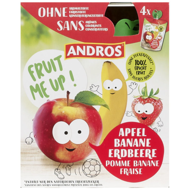 Apple Puree & Sauce - Andros Apple Banana Strawberry Compote 4x90g