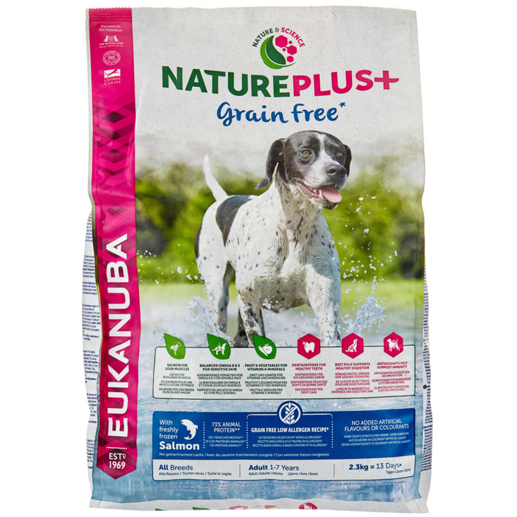 Dry Food - Eukanuba NaturePlus+ Grain Free with Freshly Frozen Salmon for Adult Dogs, All Breeds