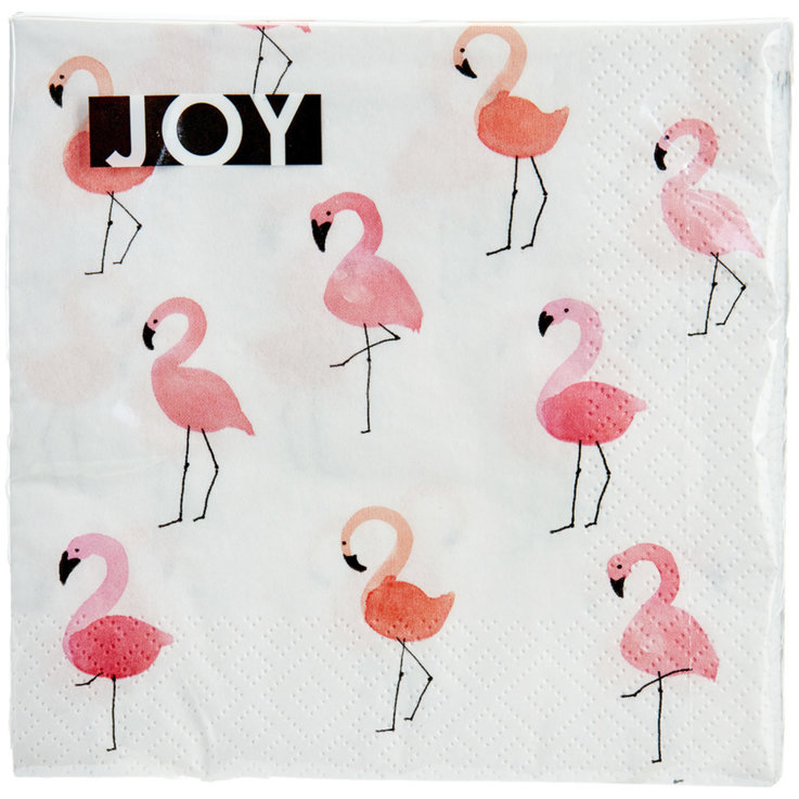 Napkins - Napkins with Flamingo 33x33cm 20 Pieces