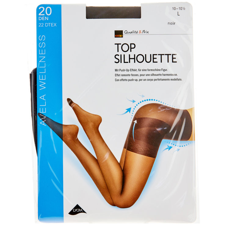 Stockings - Avela Top Silhouette 10-10.5 Black Tights