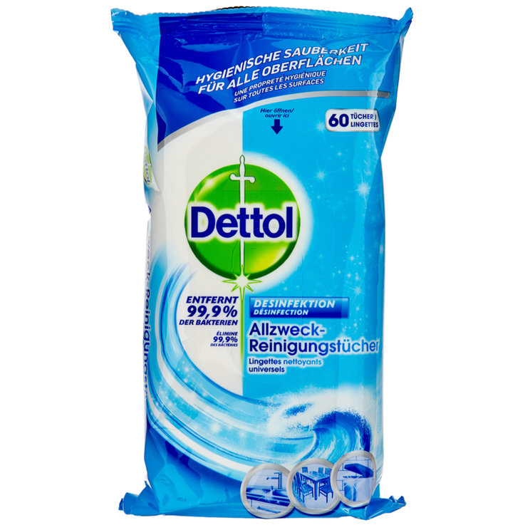 All-Purpose & Floor Cleaners - Dettol Ocean Disinfectant Wet Wipes 60 Pieces