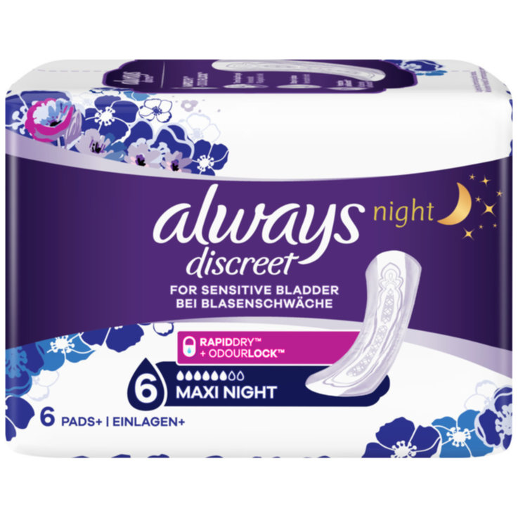 Panty Liners - Always Discreet Maxi Night Incontinence Pads 6 Pieces